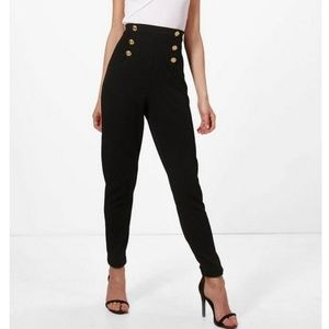 NEW Black High Waisted Gold Button Trousers | 4